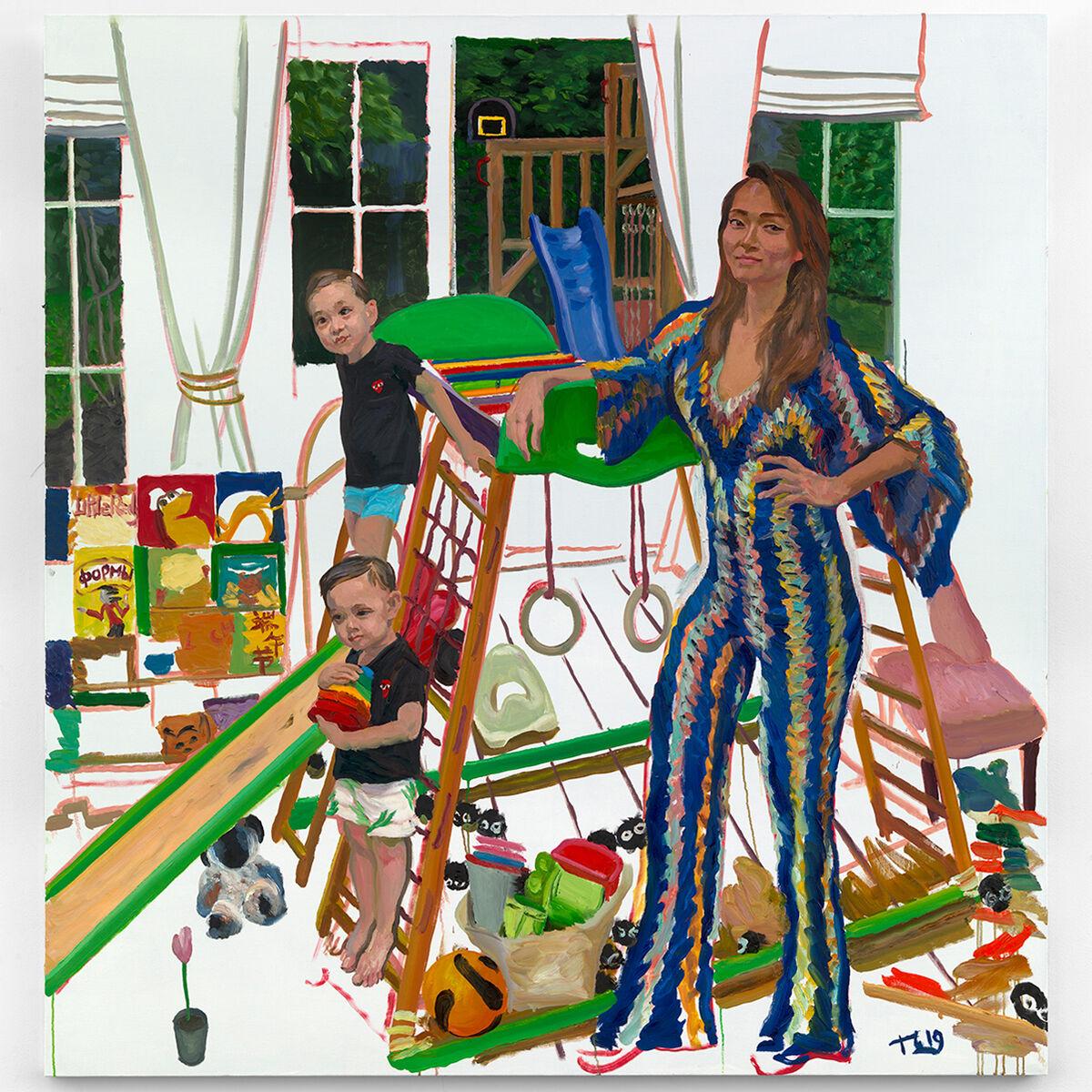Liu Xiaodong, Veronica 和她的混⾎血双棒 (Veronica and her Twins), 2019. Courtesy of the artist and Massimo De Carlo, Milan/London/Hong Kong.
