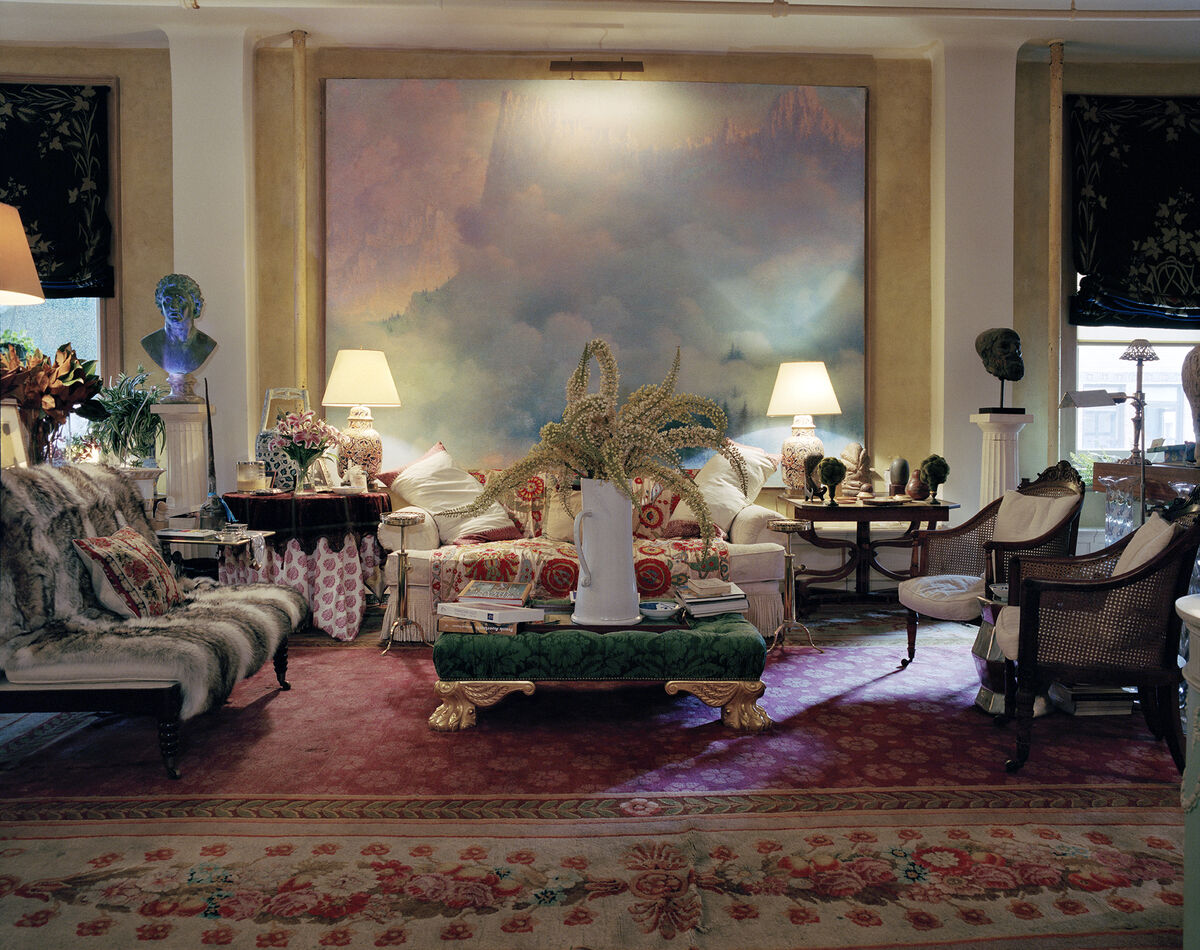 View of John Richardson's living room, featuring Lucien Lévy-Dhurmer, Paysage Montagneux, n.d. Photo by François Halard. Courtesy of Sotheby's.