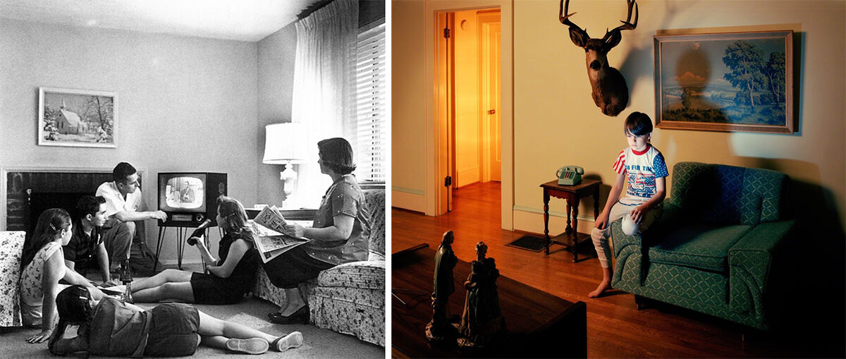 Left: Photo by Evert F. Baumgardner, via Wikimedia Commons; Right: Holly Andres, Calvin, 2006. Photo courtesy of Robert Mann Gallery.