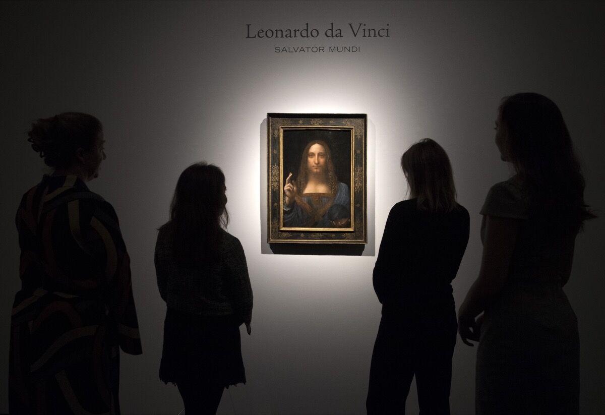 Leonardo da Vinci, Salvator Mundi, ca. 1500. Photo by Carl Court, via Getty Images.