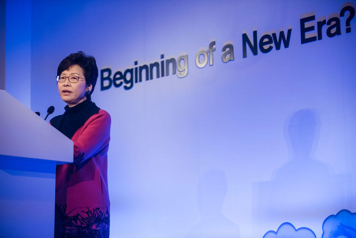 Carrie Lam, Hong Kong's chief executive-elect, speaks during the Credit Suisse Asian Investment Conference in Hong Kong, China, on Tuesday, March 28, 2017. Photographer: Anthony Kwan/Bloomberg via Getty Images.