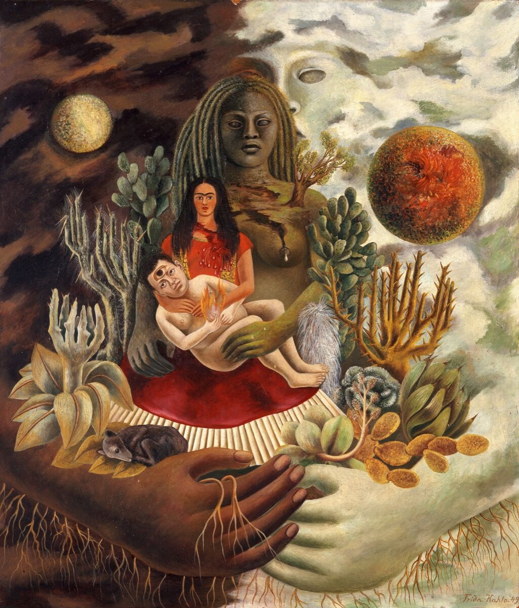 """Frida Kahlo, The Love Embrace of the Universe, the Earth (Mexico), Me, Diego, and Señor Xolotl, 1949. © 2017 Banco de México, Fiduciary of the Trust of the Diego Rivera and Frida Kahlo Museums. Courtesy of the Victoria & Albert Museum, """"Frida Kahlo: Making Her Self Up,"""" 16 June – 14 November 2018. Sponsored by Grosvenor Britain & Ireland."""