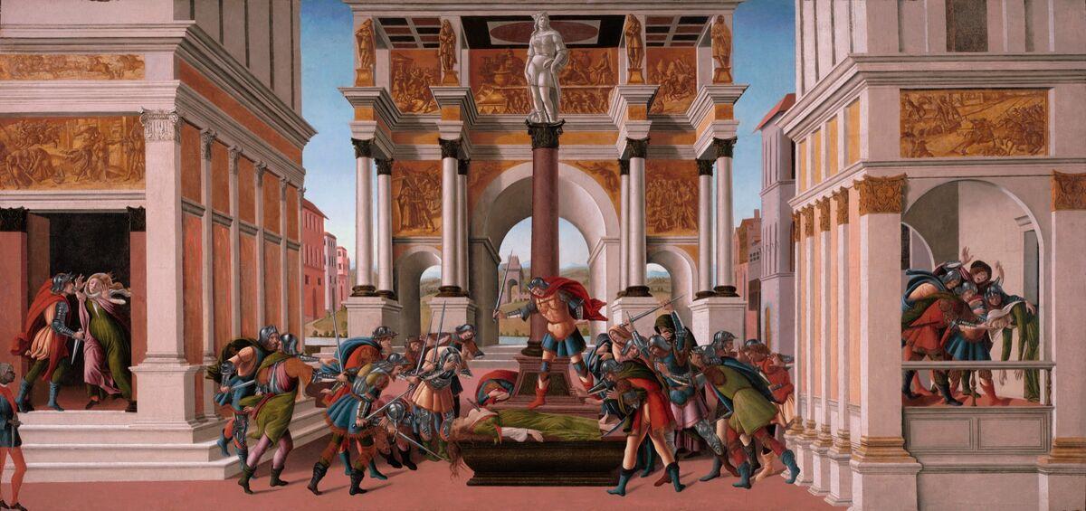 Sandro Botticelli, La tragedia de Lucrecia, 1499-1500.  Cortesía del Museo Isabella Stewart Gardner, Boston.