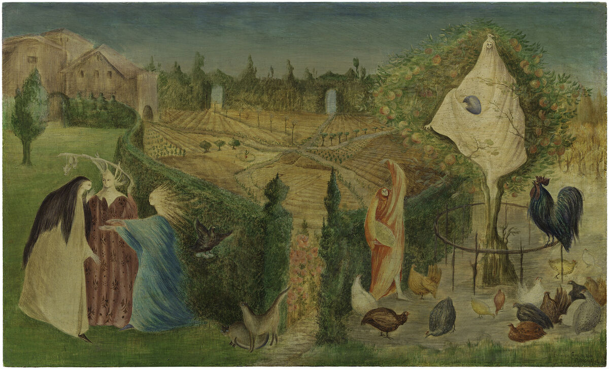 Leonora Carrington, The Kitchen Garden on the Eyot, 1946. San Francisco Museum of Modern Art, purchase, by exchange, through a gift of Peggy Guggenheim in honor of Whitney Chadwick. © Estate of Leonora Carrington / Artists Rights Society (ARS), New York. Photo by Don Ross.