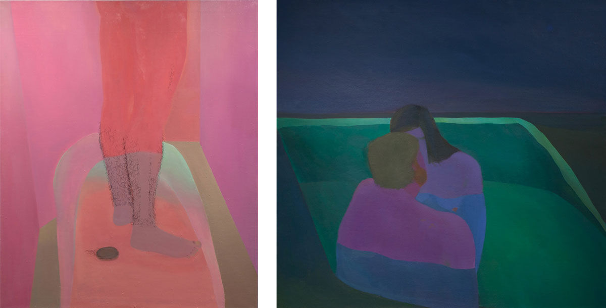 Left: Xinyi Cheng, Bathtub, 2013; Right: Xinyi Cheng, Night Tub, 2014. Images courtesy of BANK, Shanghai.