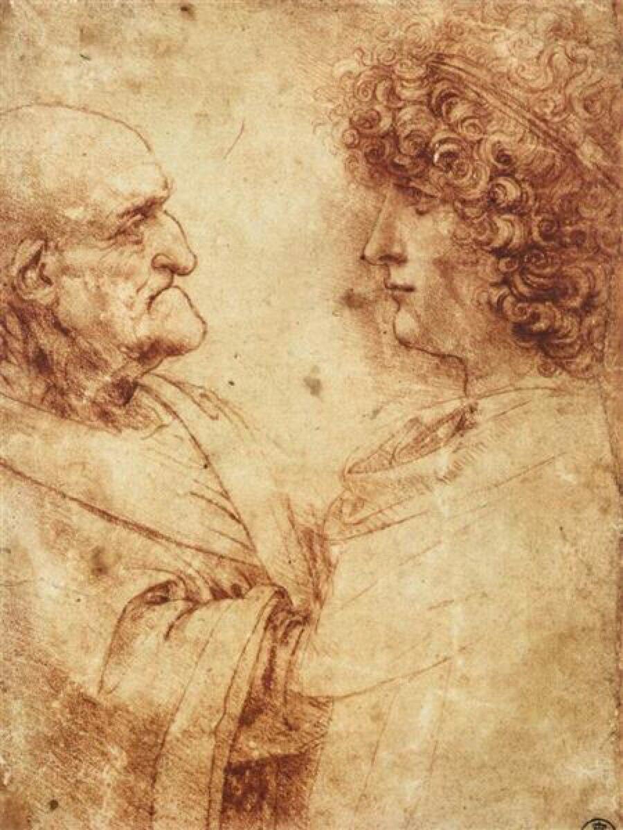 Leonardo da Vinci, Heads of an Old Man and a Youth, c. 1495. Image via Wikimedia Commons.