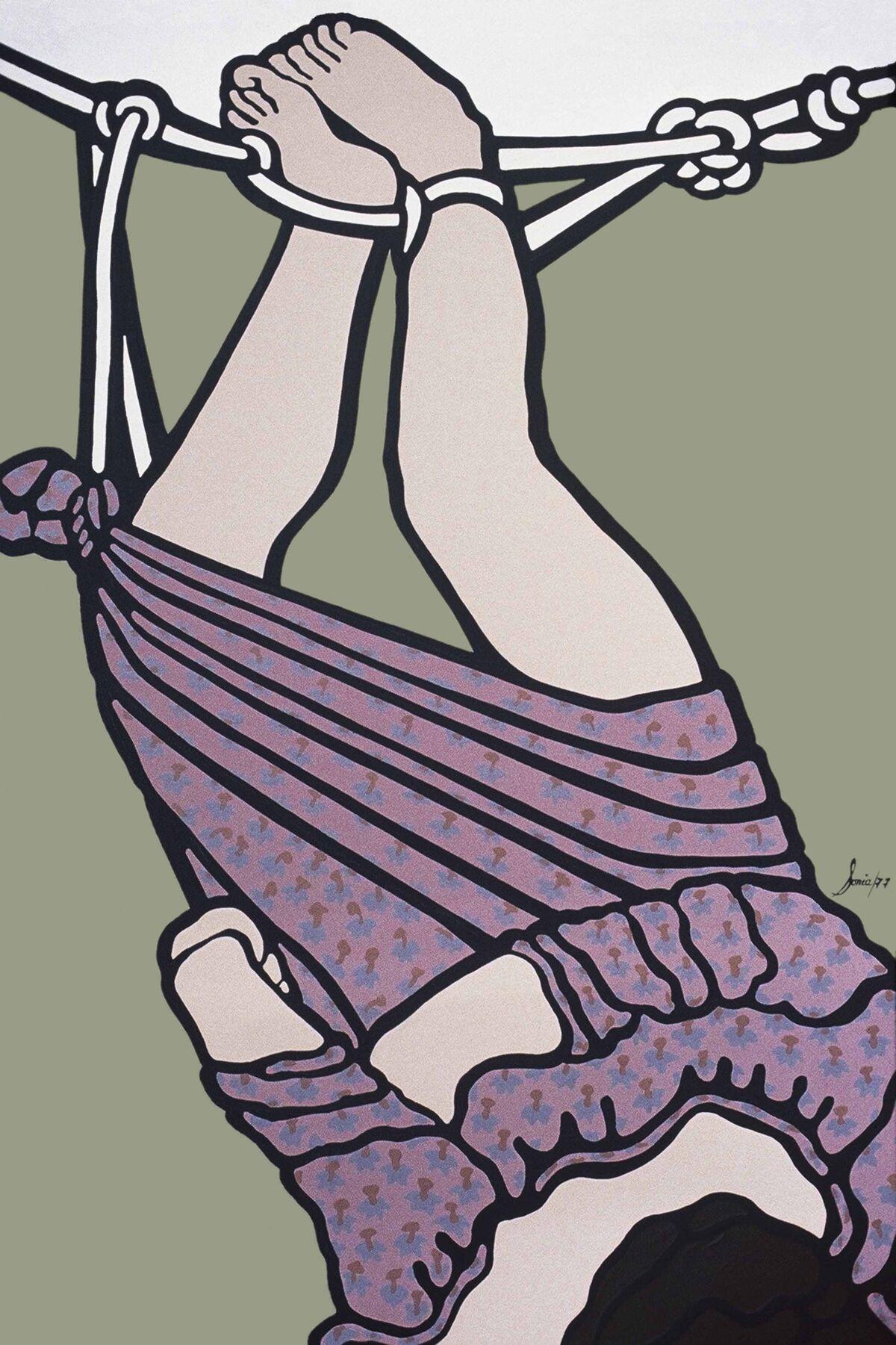 Sonia Gutiérrez, Y con unos lazos me izaron (And they lifted me up with a rope), 1977. Museo de Arte Moderno La Tertulia, Cali, Colombia. © Sonia Gutiérrez. Courtesy of the artist.