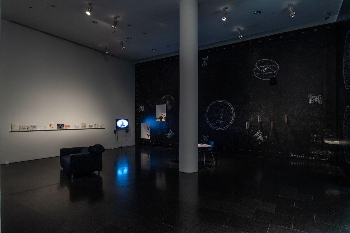 "Installation view of ""In the Open or in Stealth"" at Museu d'Art Contemporani de Barcelona, 2018. Photo by Miquell Coll. Courtesy of Museu d'Art Contemporani de Barcelona."