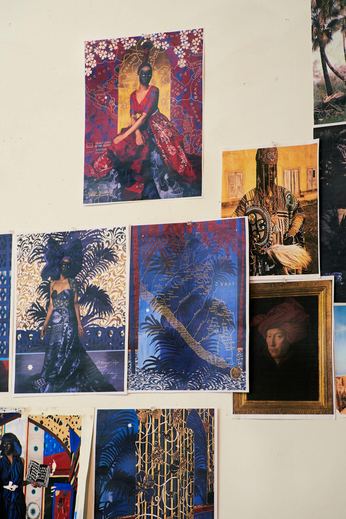 A view of Lina Iris Viktor's studio wall. Photo by Alex John Beck for Artsy.