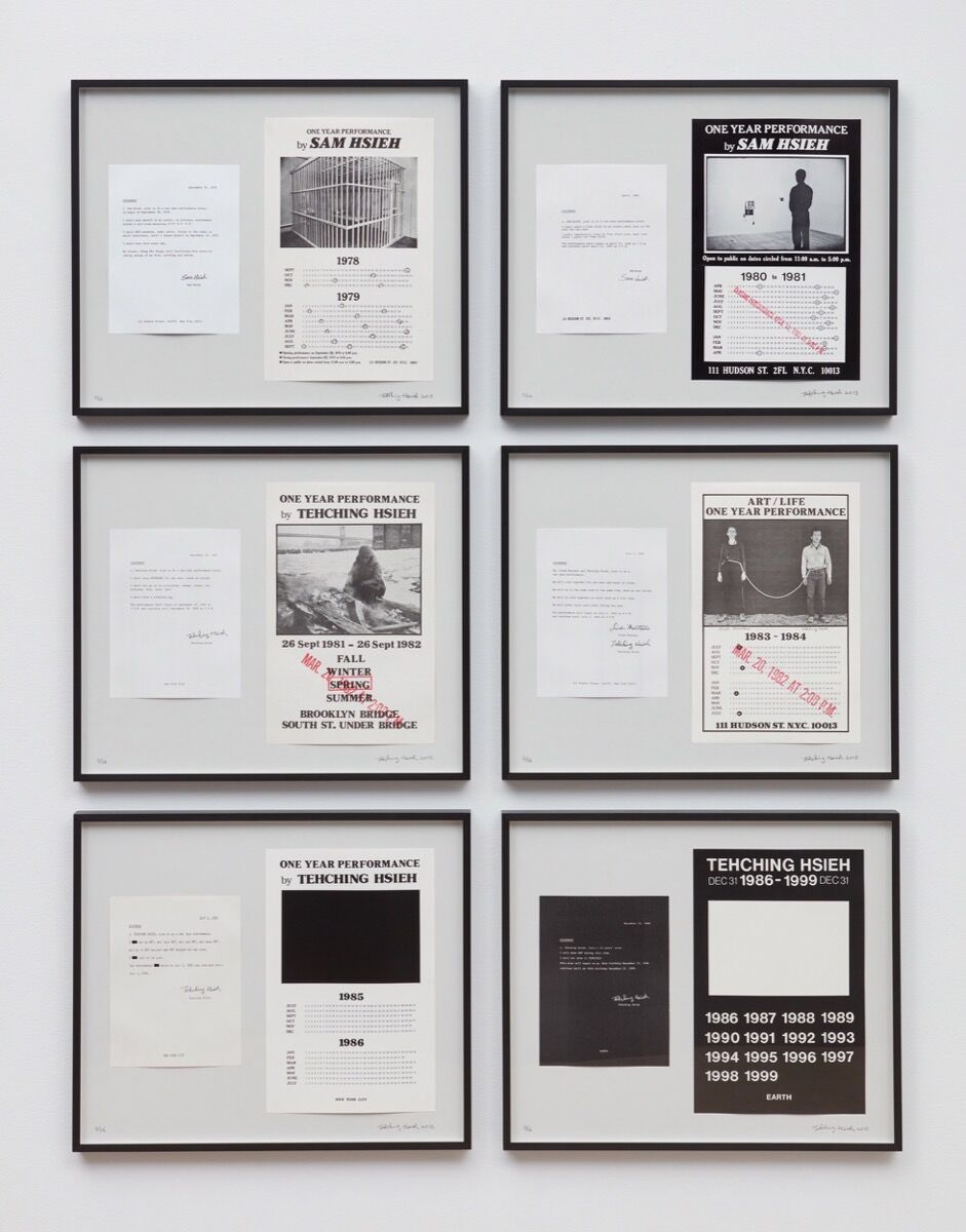 Tehching Hsieh, Tehching Hsieh 1978-1999. Posters and statements mounted on boards in 6 parts, edition of 36. © Tehching Hsieh. Courtesy of the artist and Sean Kelly, New York.