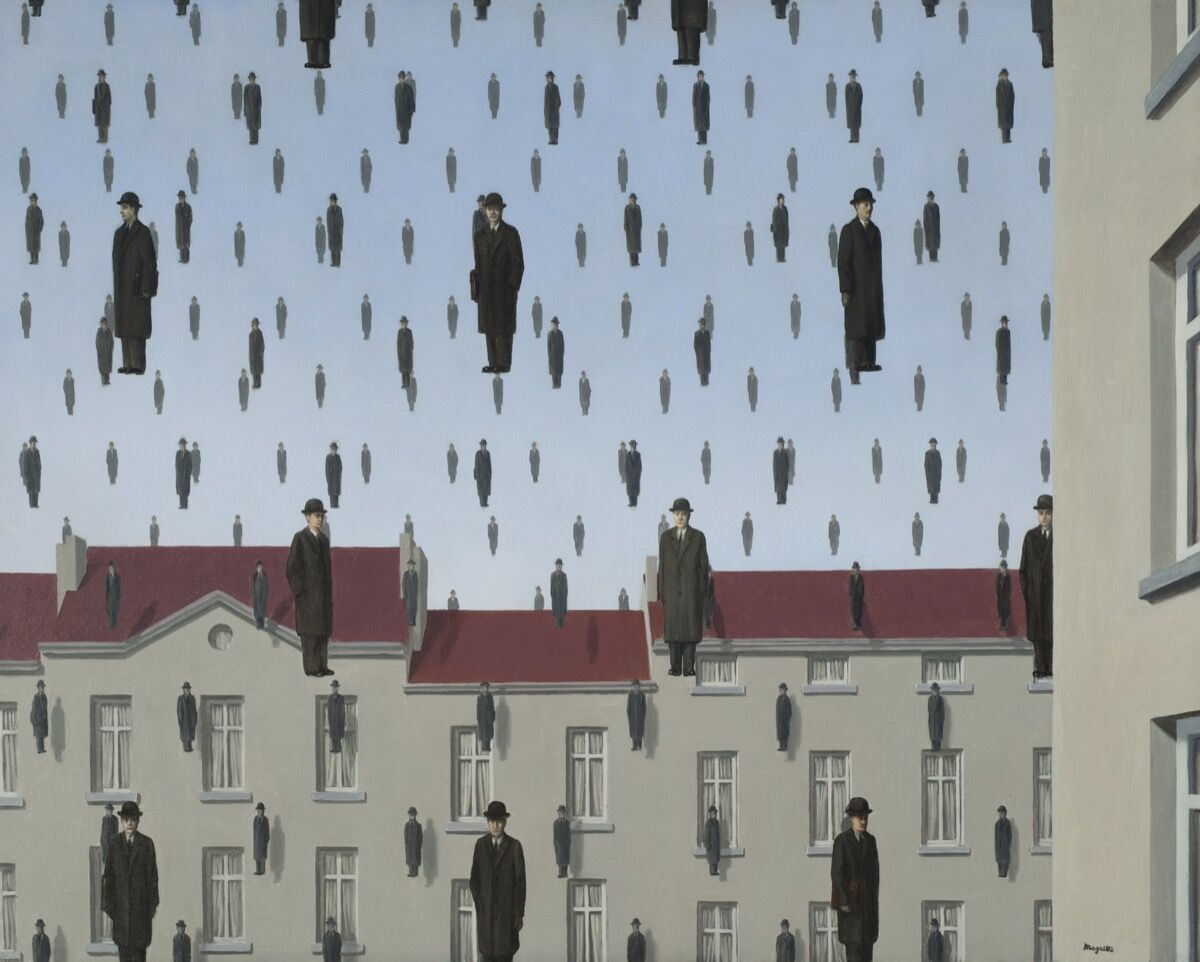 René Magritte, Golconda (Golconde), 1953. The Menil Collection, Houston. © 2019. C. Herscovici / Artists Rights Society (ARS), New York