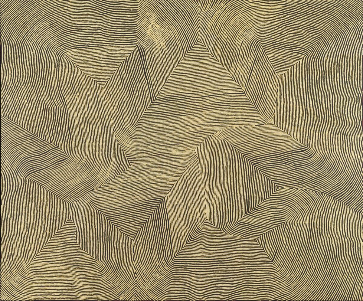 Warlimpirrnga Tjapaltjarri, Untitled , 2013. © Copyright Agency. Licensed by Artists Rights Society (ARS), New York, 2019. Photo by Rob McKeever. Courtesy of Gagosian.