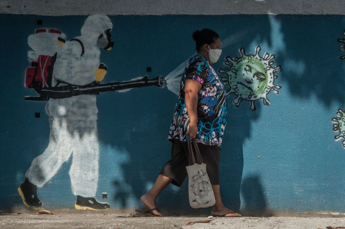 Collectives of artists NoGenta and ConTraConsciencia, murals in the neighborhood of Estacio, 2020. Photo by Allan Carvalho/NurPhoto. Image via Getty Images.