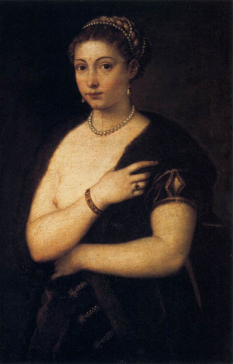 Titian, Woman with a Fur Coat, 1535. Photo via Wikimedia Commons.