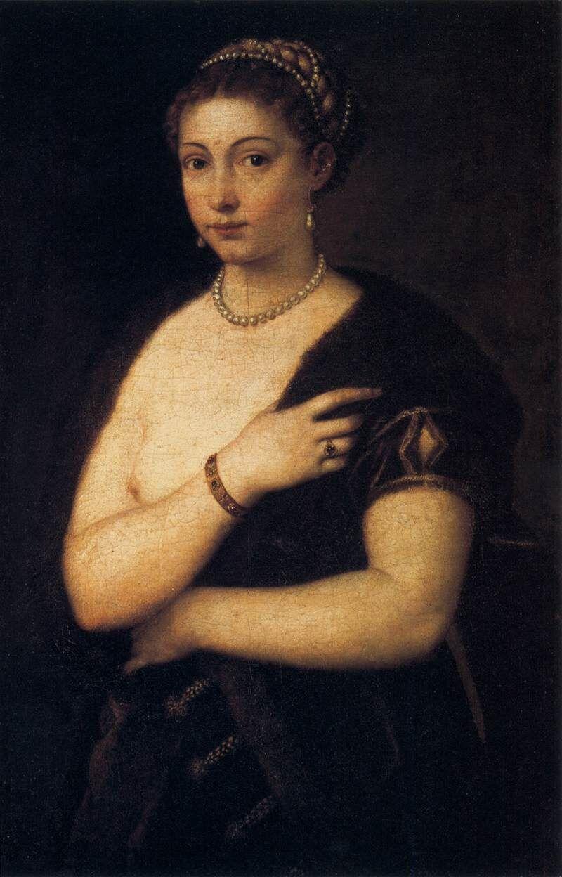 Titian, Woman with a Fur Coat, 1535. Photo via Wikimedia Commons.