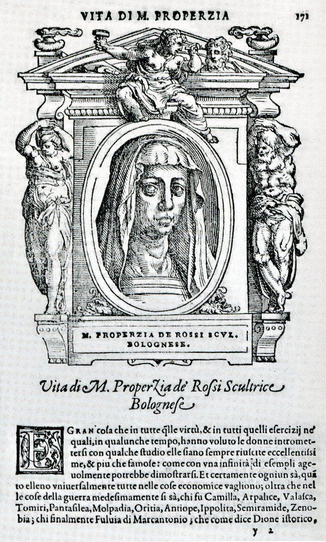 Portrait of Properzia de' Rossi in Giorgio Vasari, Le vite de' più eccellenti pittori, scultori e architettori, Firenze, 1568. Courtesy of Irene Graziani at the University of Bologna.