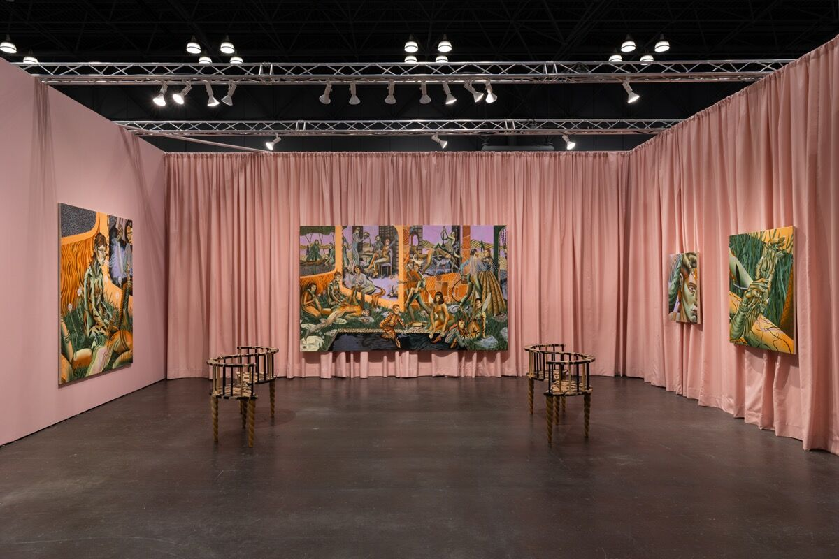 Jessie Makinson, installation view in Lyles & King's booth at The Armory Show, 2021. Courtesy of the artist and Lyles & King.