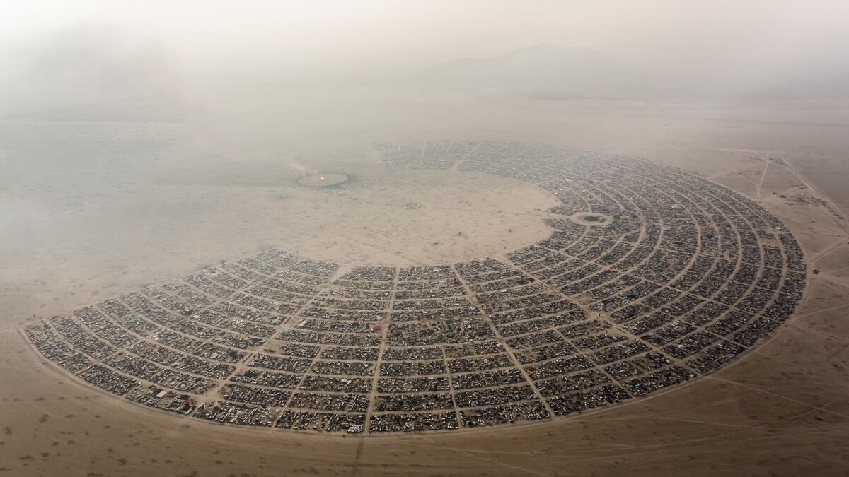 Aerial view of Burning Man, 2014. Photo by Duncan Rawlinson, via Flickr.