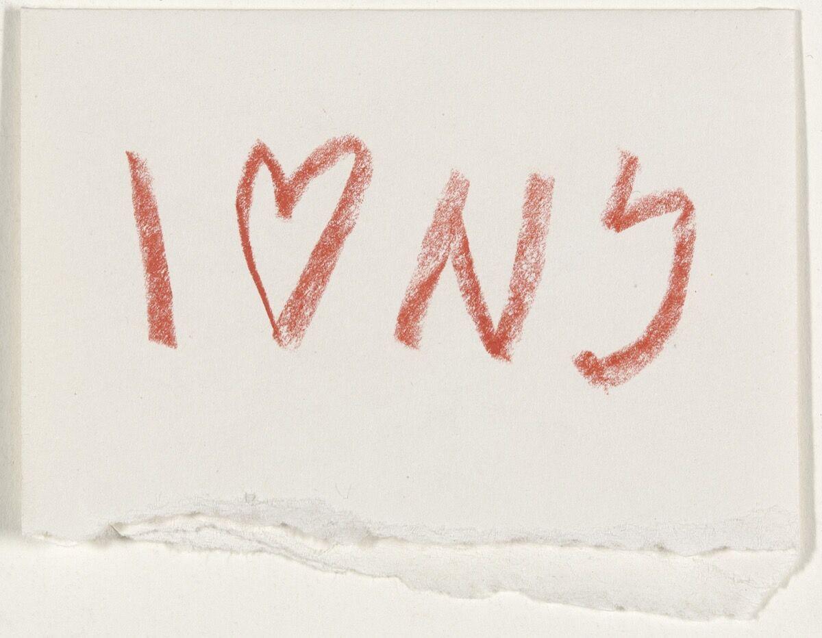 Milton Glaser, I (Heart) NY concept sketch, 1976. Courtesy of MoMA.
