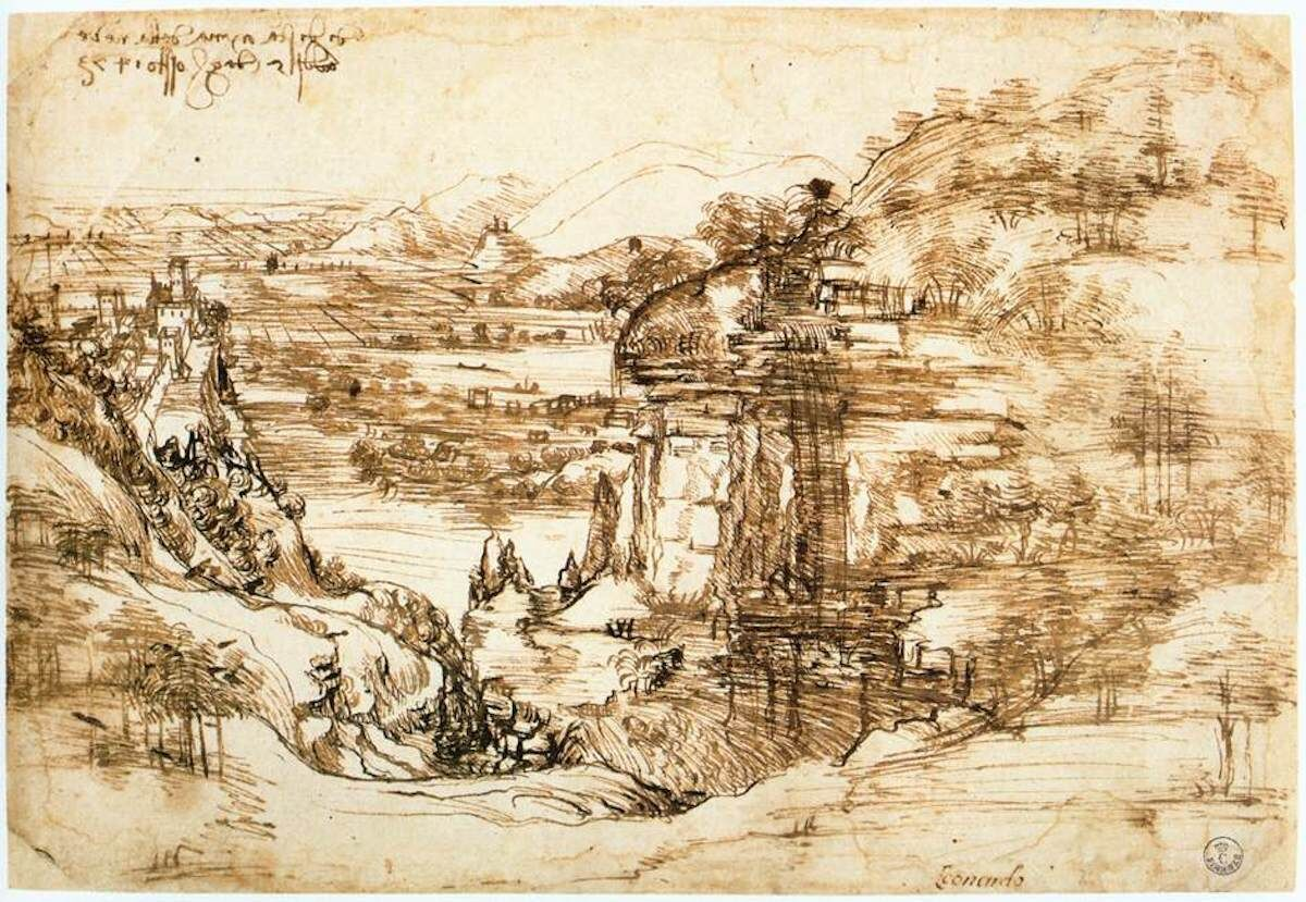 Leonardo da Vinci, Landscape drawing for Santa Maria della Neve on 5th August 1473, 1473. Via Wikimedia Commons.
