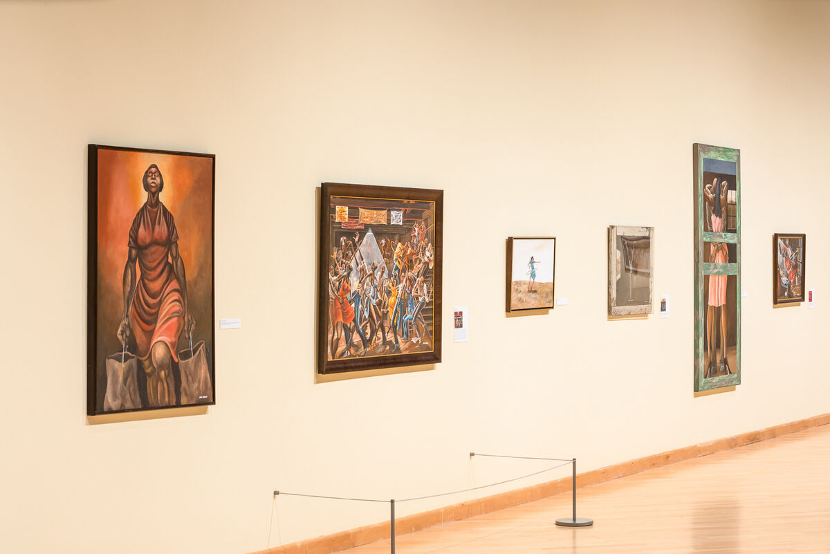 Installation view of Ernie Barnes: A Retrospective at the California African American Museum, 2019. Photo by Elon Schoenholz. Courtesy of the California African American Museum.