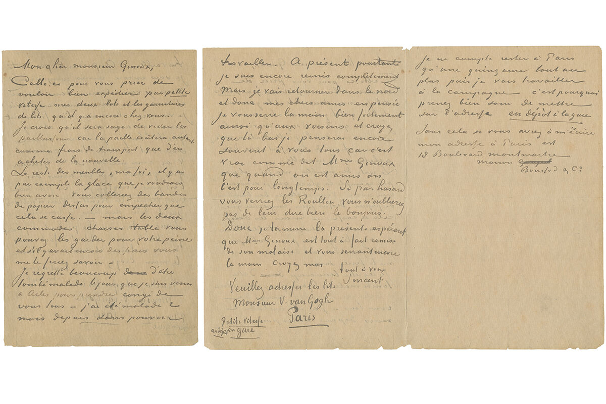 Two months before his suicide, van Gogh lists the furniture from the bedroom at Arles that he immortalized in oil. Vincent van Gogh, autograph letter signed, to Joseph Ginoux, ca. 12 May 1890. © TASCHEN.
