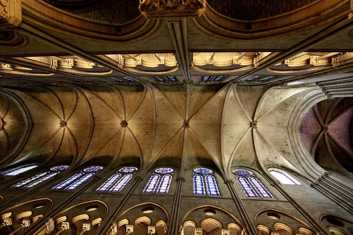 The ceiling of Notre Dame Cathedral in Paris. Photo by Kipp Jones, via Wikimedia Commons.