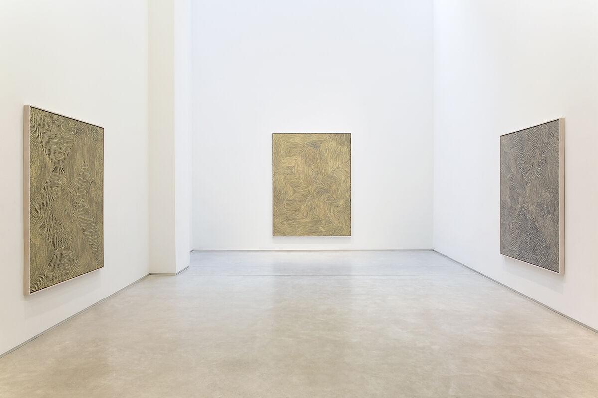 "Installation view of ""Warlimpirrnga Tjapaltjarri: Maparntjarra"" at Salon 94, New York. Courtesy Salon 94 and the artist"