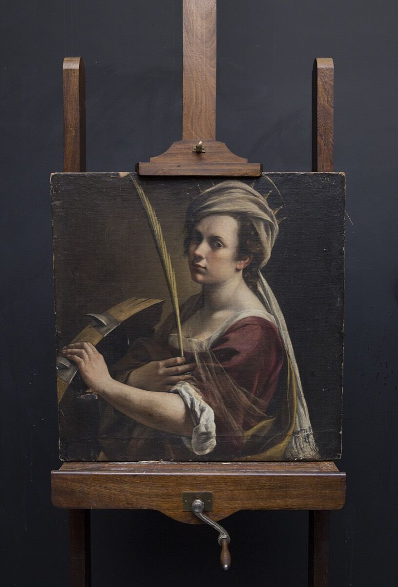 Artemisia Gentileschi, Self Portrait as Saint Catherine of Alexandria, ca. 1615–17 on easel. © The National Gallery, London.