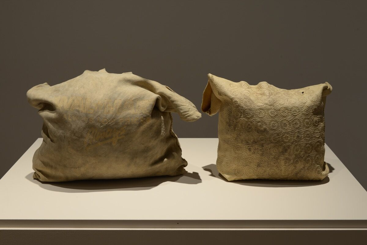 Jordan Bennett, Artifact Bags (The Bay, Walmart and Target), 2013–15. Courtesy of the Museum of Capitalism.