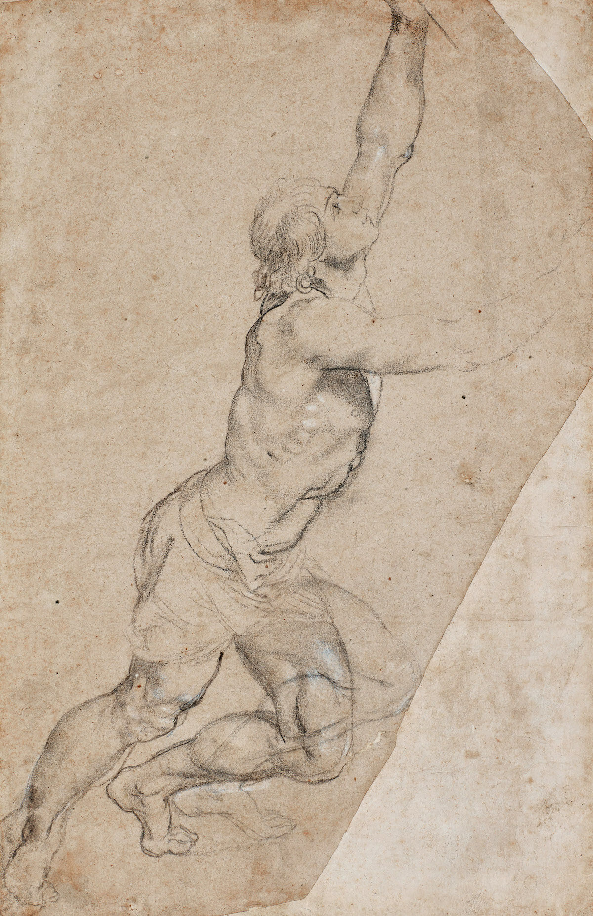 Peter Paul Rubens, Nude Study of a Young Man with Raised Arms, black chalk, heightened with white. Est. $2.5–3.5 million, sold for $8,202,000. Courtesy Sotheby's.