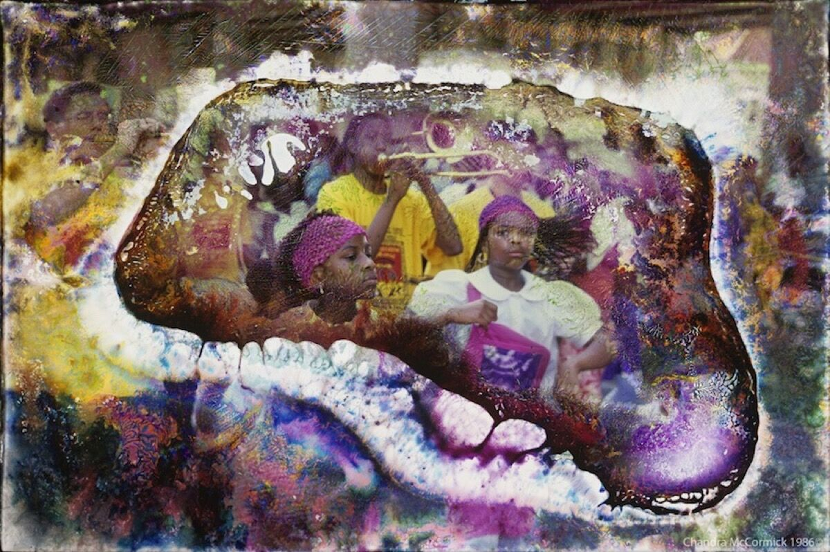 "Chandra McCormick, Pink Pride. ""This image was made before Hurricane Katrina. It is the Tambourine & Fan club's annual parade and features Troy 'Trombone Shorty' Andrews."""