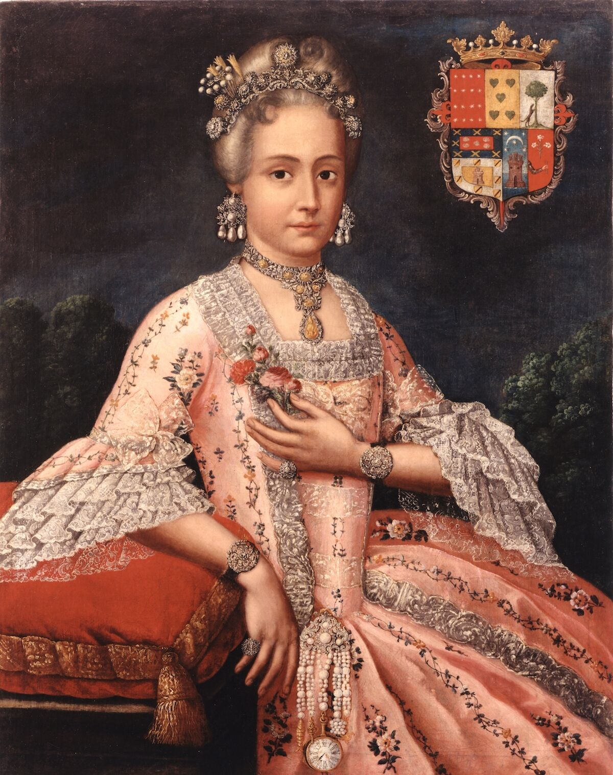 Attributed to Cristóbal Lozano, Rosa de Salazar y Gabiño, Countess of Monteblanco and Montemar Peru, c. 1763, oil on canvas. Courtesy the Blanton Museum of Art, The University of Texas at Austin.