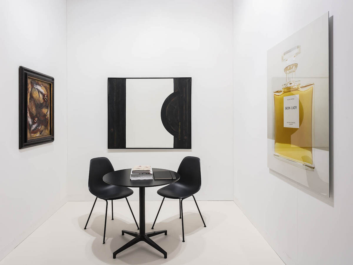 Installation view of work by Carol Rama at Galerie Isabella Bortolozzi's booth at Art Basel, 2017. Courtesy Archivio Carol Rama and Galerie Isabella Bortolozzi, Berlin. Photo by Mark Blower.