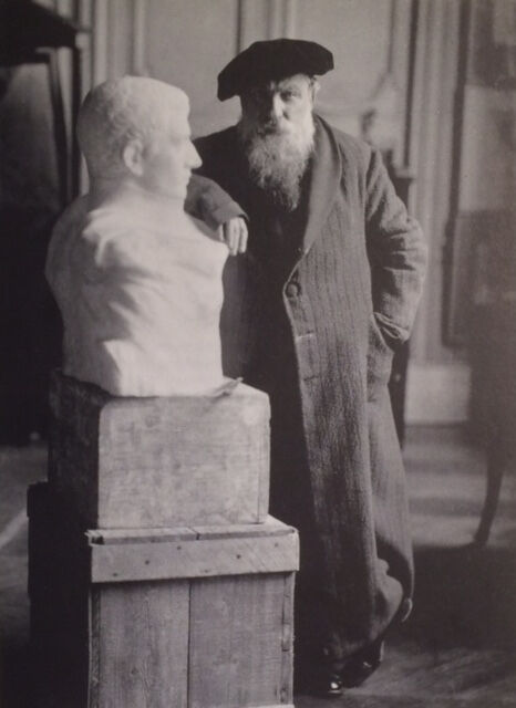 Auguste Rodin with his sculpture of Napoleon Bonaparte. Courtesy of the Hartley Dodge Foundation/Musée Rodin.