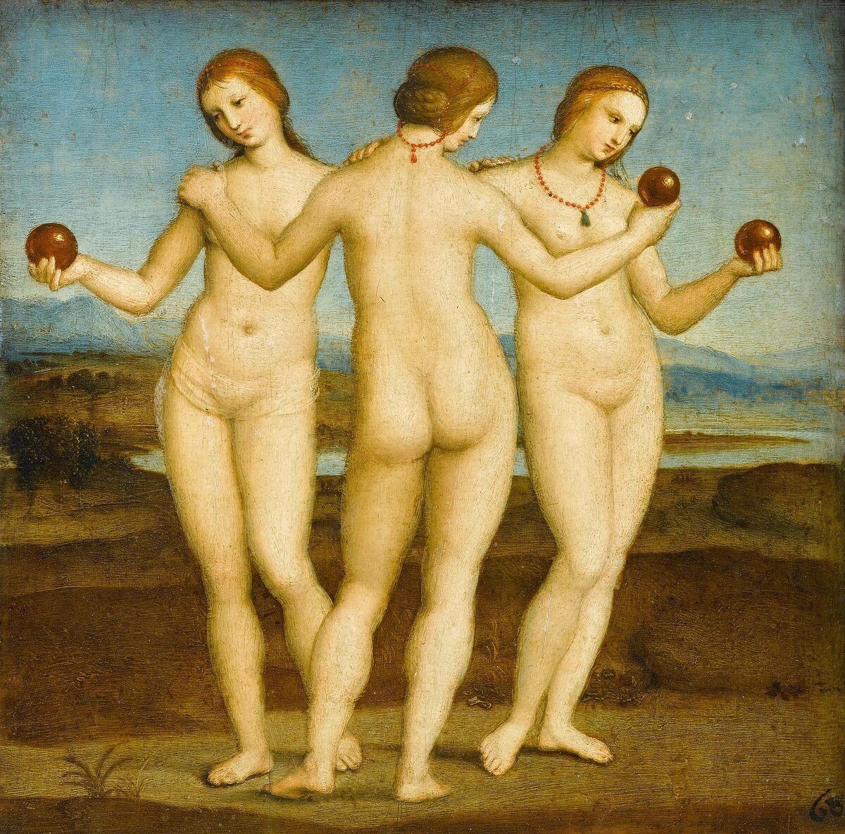 Rafael, Las tres gracias, 1504. Imagen a través de Wikimedia Commons.