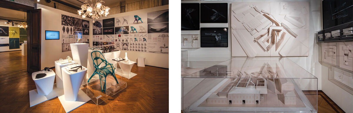 Installation views of Zaha Hadid's retrospective at Palazzo Franchetti. ©Luke Hayes.