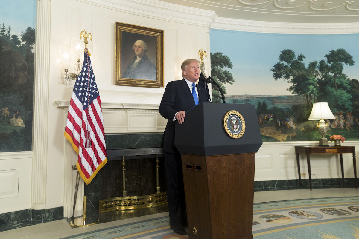 President Donald Trump gives a speech at the White House on October 13, 2017. Official White House photo by D. Myles Cullen, via Flickr.