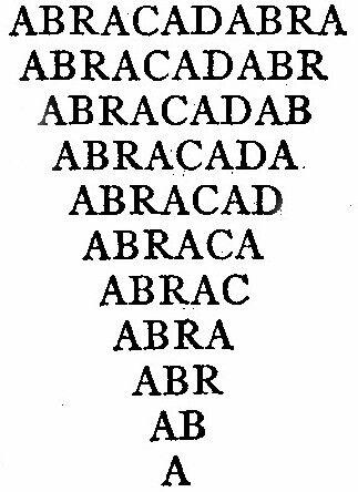 Image of Abracadabra from Encyclopedia Britannica, via Wikimedia commons.