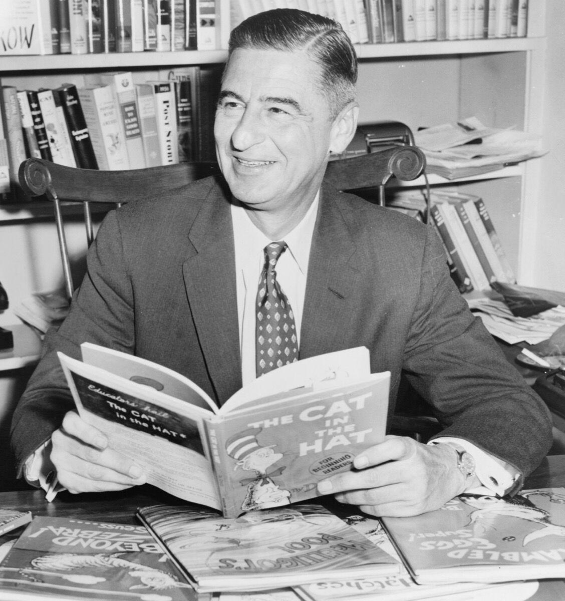 "Theodor Seuss Geisel (""Dr. Seuss"") in 1958. Image via Wikimedia Commons"