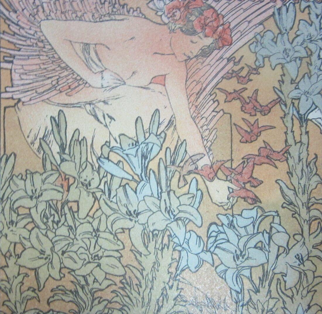 An angel tending to Jaufre's garden.