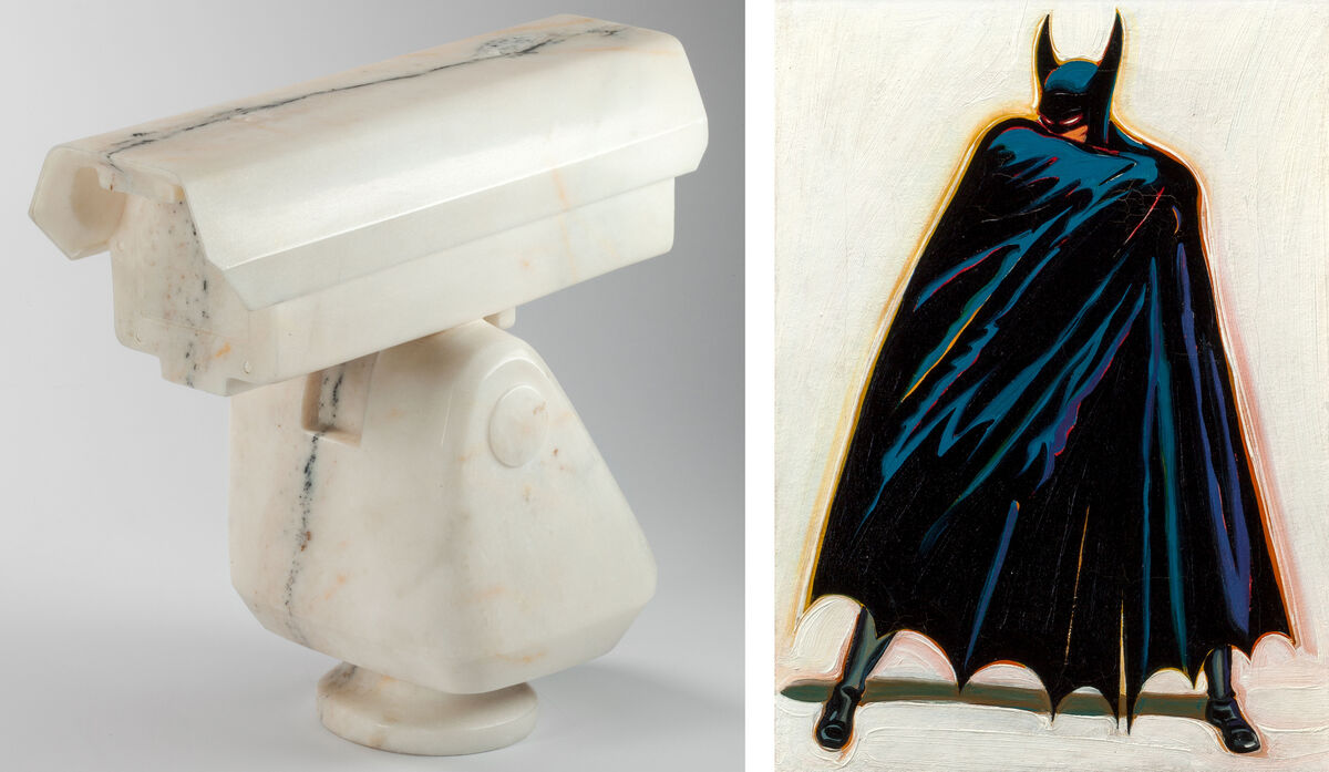 (left) Ai Weiwei, Surveillance Camera (2010) (est. $400,000–600,000); (right) Mel Ramos, A Sinister Figure Lurks in the Shadows (1962) (est. $80,000–120,000). Images courtesy of Heritage Auctions.