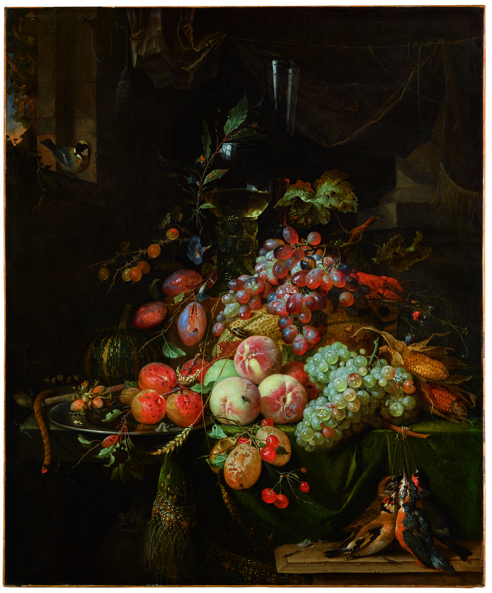 Abraham Mignon, Still Life with Plums, Peaches, Apricot, Grapes and a Melon, with a Roemer Glass and a Flute Glass, all on a Draped Table, a Goldfinch on the Window Sill, n.d. Courtesy of Sotheby's.