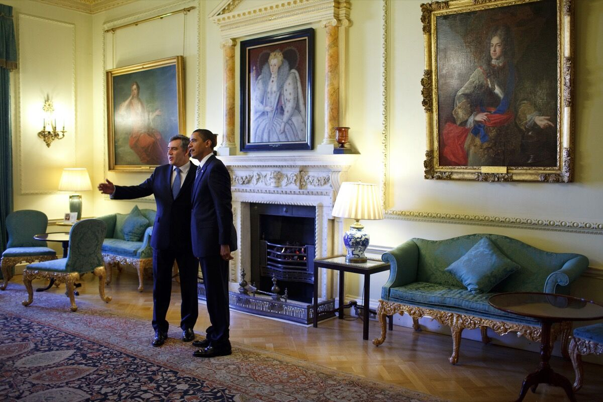 Barack Obama and Gordon Brown in 10 Downing Street. Image via Wikimedia Commons.