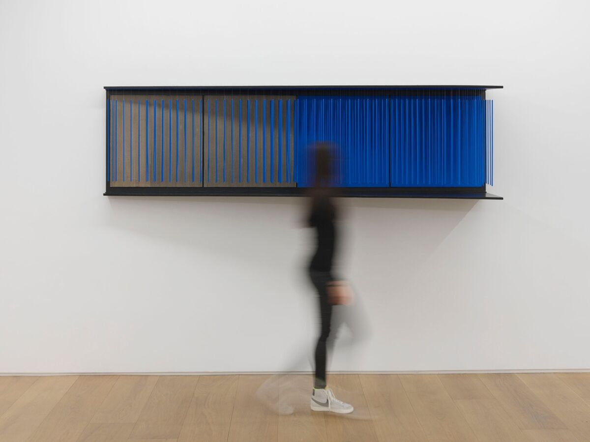 "View of the exhibition Jesús Rafael Soto ""Chronochrome"", Galerie Perrotin, New York, 2015.Jesús Rafael Soto, 'Untitled, (Mur bleu),' 1966.© Jesús Rafael Soto / Artists Rights Society (ARS), New York/ADAGP, Paris, 2015. Photo: Guillaume Ziccarelli. Courtesy Galerie Perrotin."