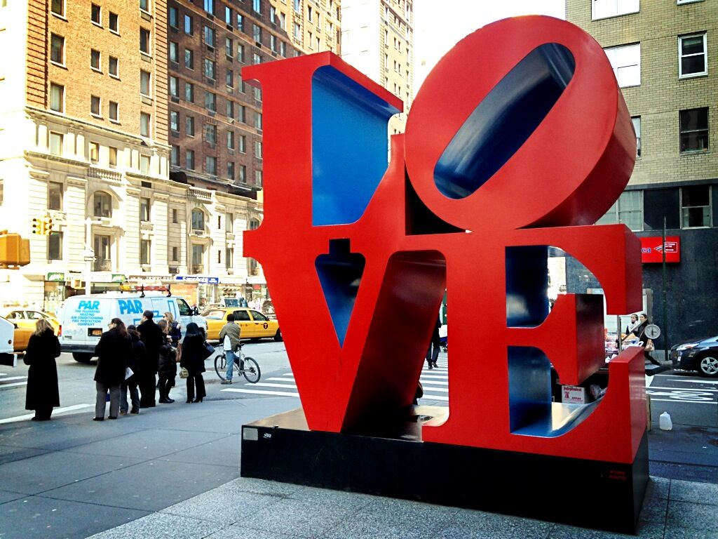 One of Robert Indiana's LOVE  sculptures in New York City. Image by Maurizio Pesce via Wikimedia Commons.