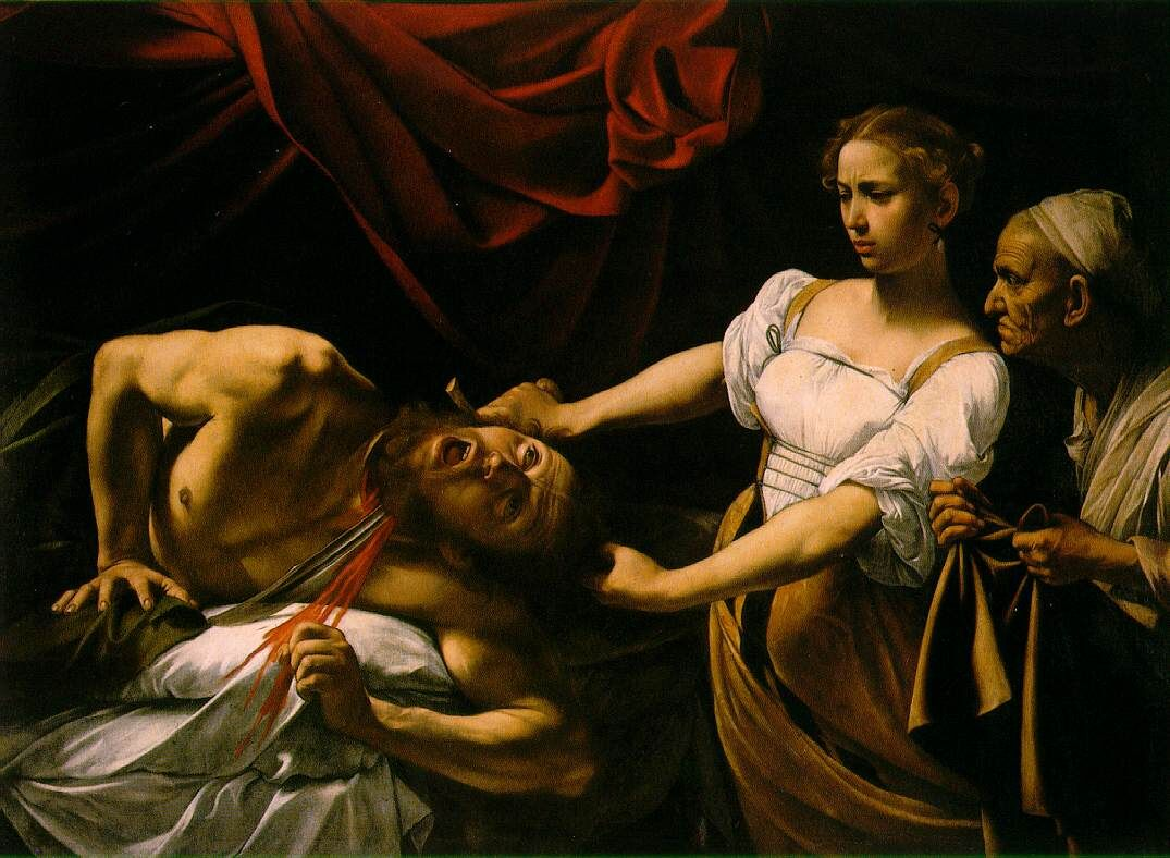 Caravaggio, Judith Beheading Holofernes, circa 1598-1599. Photo via Wikimedia Commons.