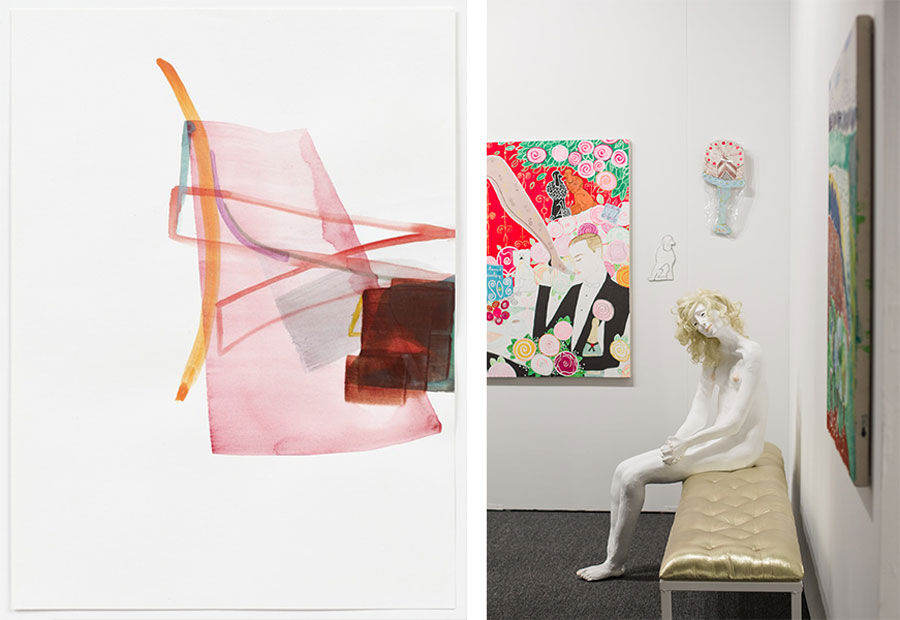 Left: Henrik Eiben, Sidewinder (2015). Courtesy of Galerie Christian Lethert. Right: Art Los Angeles Contemporary, Opening Night, January 28, 2016. Photos by Gina Clyne, courtesy of Art Los Angeles Contemporary.