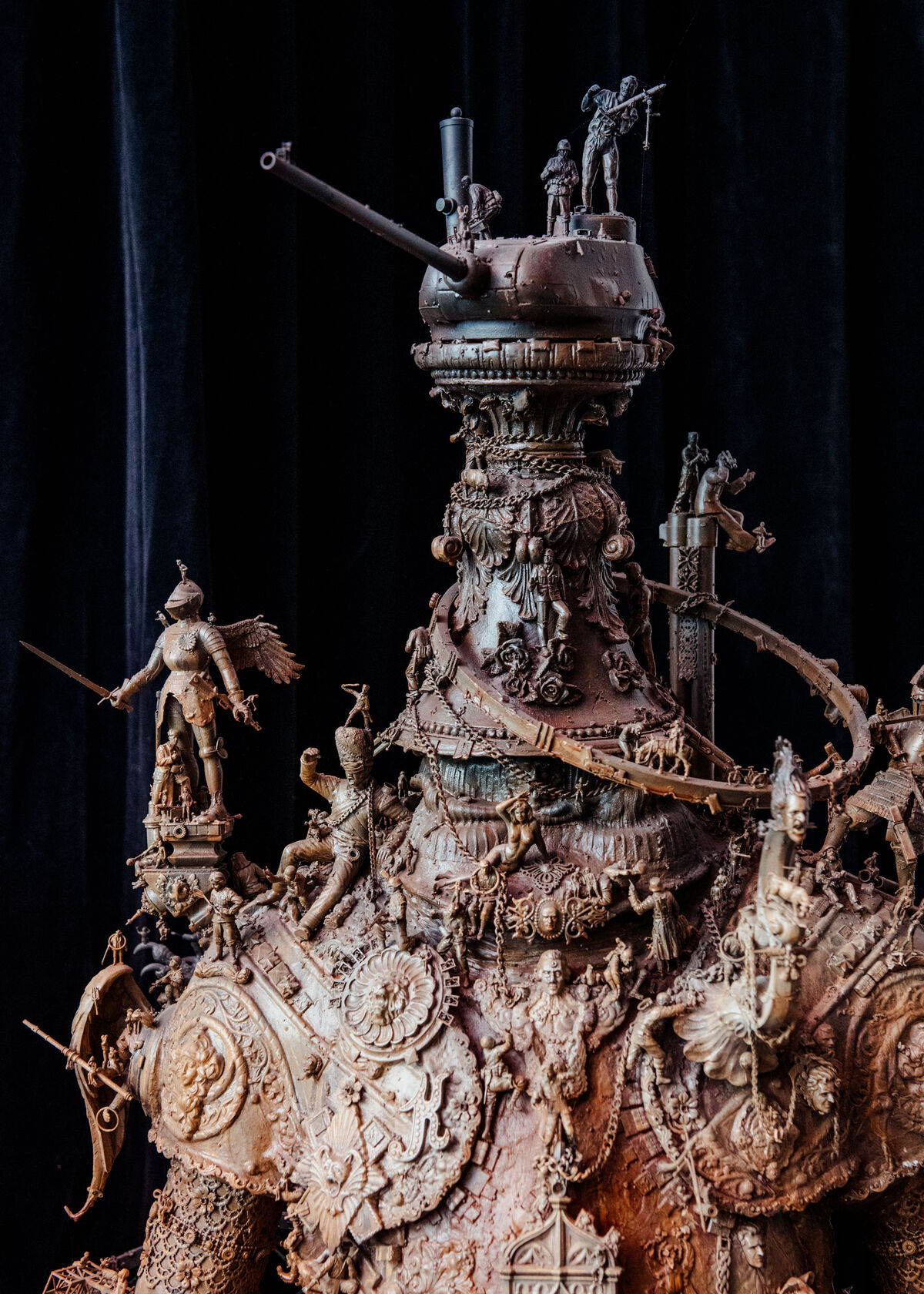"Ferdinand Von Howitzerhead  (2014) by sculptor Kris Kuksi. Aoki was introduced to Kuksi's work by a nightclub owner in Los Angeles and a friend in Italy. ""I get swallowed up by the detail,"" he says. Photo by Brian Guido for Artsy."