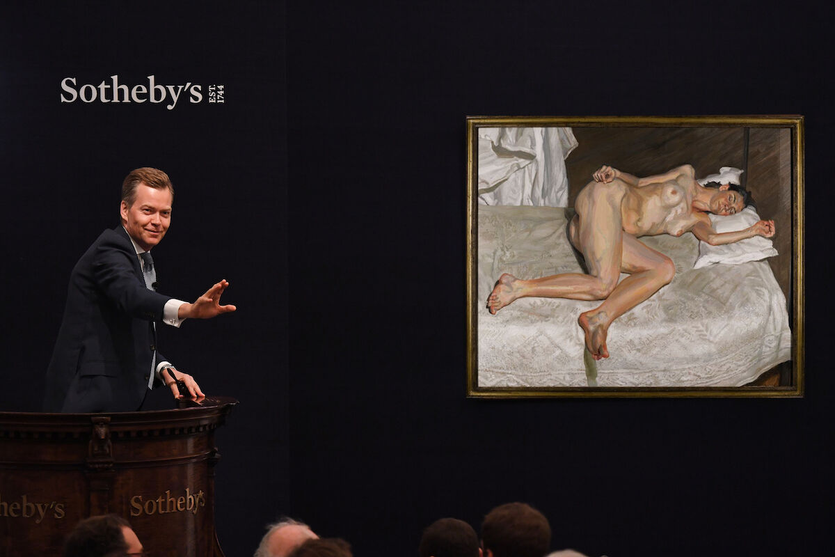 Auction of Lucian Freud's Portrait on a White Cover (2002-2003).  Courtesy of Sotheby's.